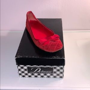 Red women's quilted Delman flats